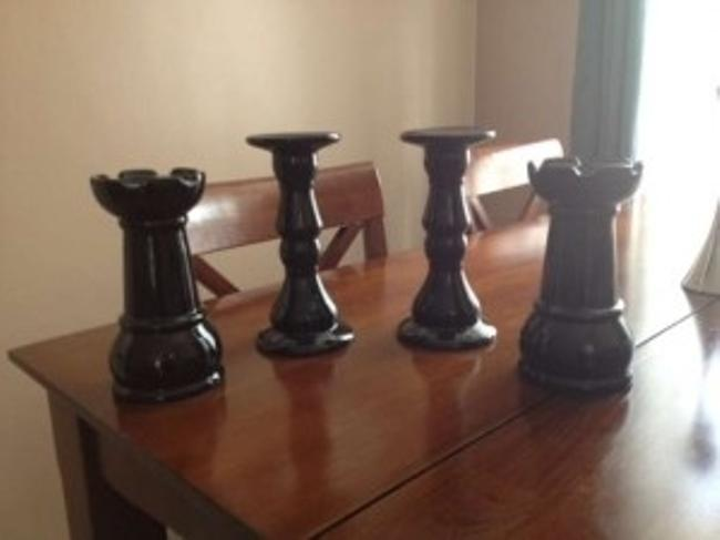 Item - Black Glossy Candle Holders Centerpiece