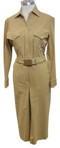 Prada Prada Khaki safari skirt, blouse and belt. Top stitch detail, inverted pleat skirt
