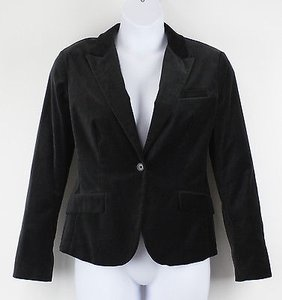 New York & Company York Company Charcoal Velveteen One-button Blazer B46