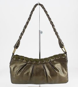 Via Spiga Olive Metallic Leather Whip Stitch Zip Top Braided Strap B82 Shoulder Bag