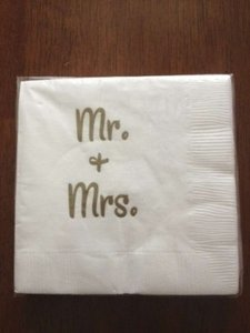 White with Gold Writing Mr. and Mrs. Cocktail Napkins Barware