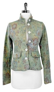 Edun Embroidered Fitted Classic Tapestry Floral Greens Jacket