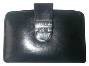 Bosca Bosca Black Leather Bifold Credit Card Wallet Locking Snap