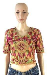 Other Vintage Crop Xsmall Top Orange, Pink and Green