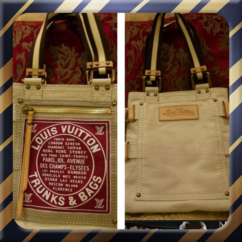 22560250874c Louis Vuitton Cabas Limited Edition Toile Globe Shopper Trunk Mm Blue Beige Canvas  Tote - Tradesy