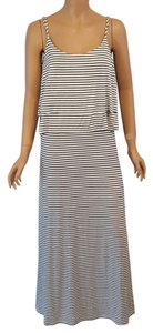 NWT Black and White Striped Tiered Top Maxi Dress by Romeo & Juliet Couture Maxi