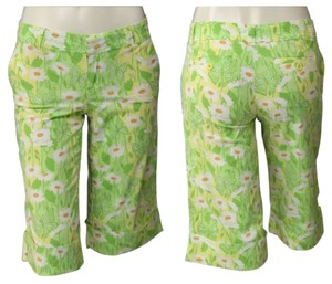 Lilly Pulitzer Preppy Palm Beach Bermuda Shorts Green Floral