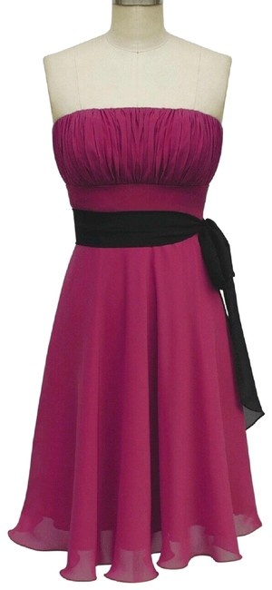 Preload https://img-static.tradesy.com/item/1494260/red-strapless-chiffon-pleated-bust-w-removable-black-sash-included-short-formal-dress-size-12-l-0-5-650-650.jpg