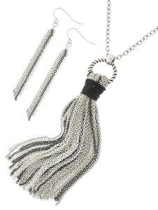 Other Two-tone Wrapped Black Cord Necklace & Earrings