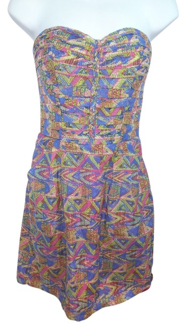 Item - Multicolored Strapless Above Knee Short Casual Dress Size Petite 4 (S)
