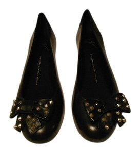 Giuseppe Zanotti Chic Design Comfortable Stud Accented Bow Made In Italy Black Flats