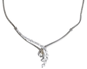 Ribbon 14K White Gold 1.15ctw Diamond Ribbon Chain Pendant Necklace 16