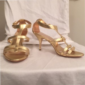 Coach Leather Sandal Strappy Comfortable Gold Formal