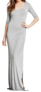 Heather Grey Maxi Dress by Remain Elbow Sleeves Slide Slit