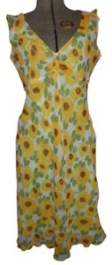 Free People short dress yellow, green, burgundy & cream floral print Summer Sleeveless on Tradesy