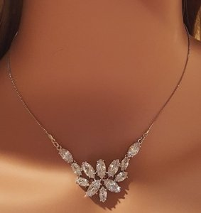 Marquise Cz Prong Set Bridal Necklace