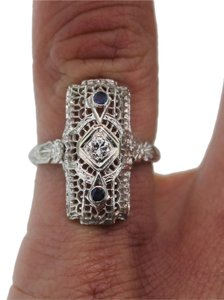 Other Vintage Art Deco 18K White Gold .14CTW Diamond Sapphire Ring 2.8 Grams Size 5