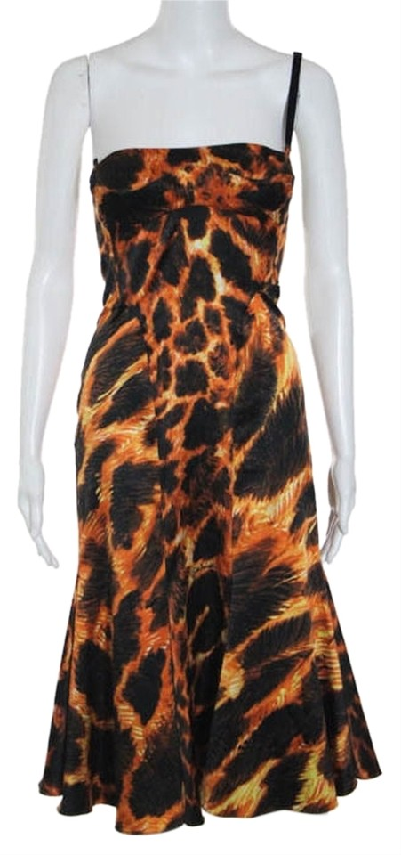 cheap for discount 19999 99bd8 Roberto Cavalli Orange & Black Just Strapless Animal Print A Line It 38  Knee Length Cocktail Dress Size 4 (S)