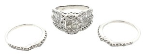 Wedding Set 10K White Gold 2.50CTW Multi Cut Diamond Ring Set 11.6Grams Size 6.5