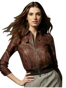Juicy Couture Leather Tobacco Brown Leather Jacket