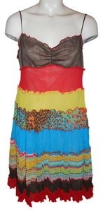 BCBGMAXAZRIA short dress brown, coral, turquoise multi color Summer Tiered Gauze on Tradesy
