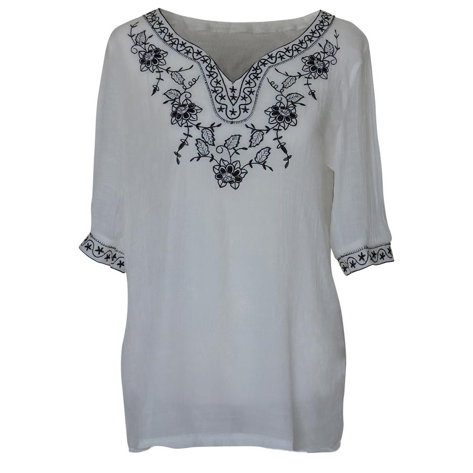 White Embroidered Blouse with Floral and Stars Design Collar Tunic ...