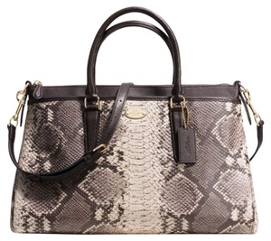 Coach 15.75in Longer Strap Zip Top Closure Embossed F35881 Stunning Satchel in LIGHT GOLD/GREY MULTI PYTHON