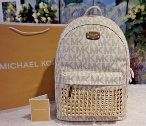 Michael Kors Leather Mk Gold Hardware Backpack