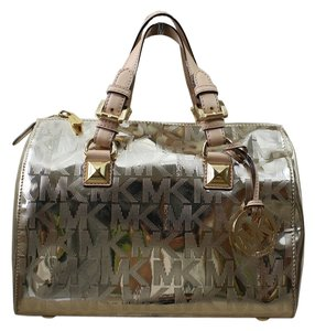 Michael Kors Grayson Pale Pvc Satchel in Gold