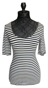 Max Studio Short Sleeve Striped Top Black/ White