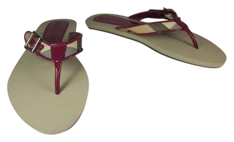 Burberry Pink Flip-flops Leather & Nova Check Flip-flops Pink Sz: M Flat Sandals 3e90e0