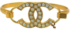 Chanel Chanel Gold Logo Rhinestone Bangle Bracelet