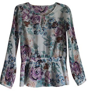 Charming Charlie Spring Floral Peasant Top White