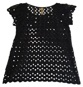 Mimi Chica Macrame Knit Spring Shell Vintage Top Black