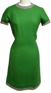Bonwit Teller short dress green with black and white check trim on Tradesy