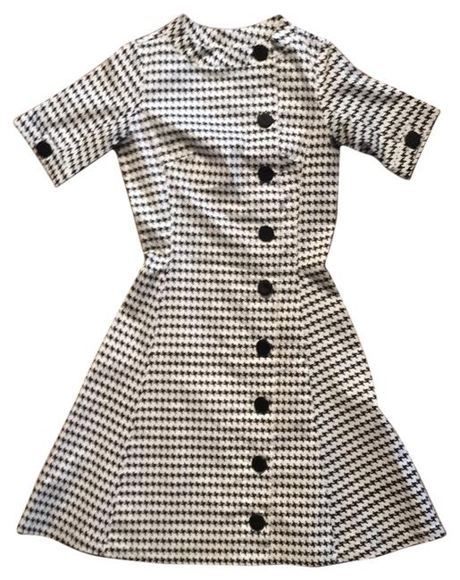 Item - Black and White Houndstooth Knee Length Work/Office Dress Size 2 (XS)