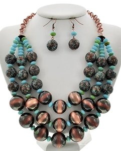 Burnished Copper Tone Necklace & Earring Set