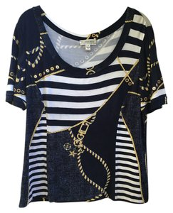 St. John Nautical Stripe Top Navy White Gold