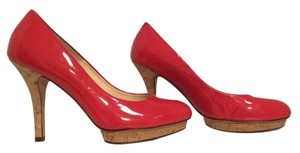 Isola Cork Coral Patent Leather Pumps