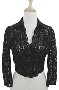 Armand Ventilo Lace Beaded 3/4 Sleeve Jacket Top black