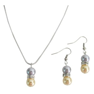 Bridal Drop Down Pearl Pendant Earrings Set Yellow Gray Pearl Jewelry