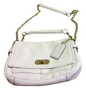 Coach Goldchain Leather White Shoulder Bag