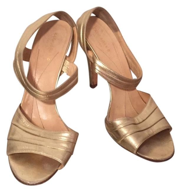 Item - Metallic Gold Strappy Sandals Ankle Strap Formal Shoes Size US 9 Regular (M, B)