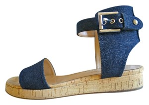 Gianvito Rossi Flatforms Denim Blue Sandals