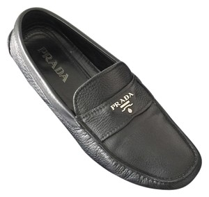 Prada Black Pebbled Leather Flats