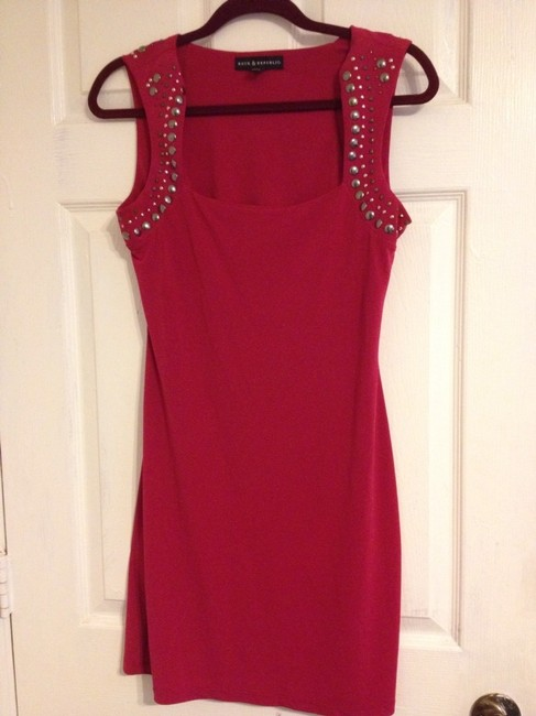 Rock & Republic Studded Red And Edgy Chic Date Polished Popular New York Dress
