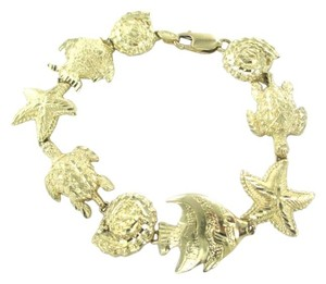 14KT YELLOW GOLD BRACELET STARFISH TURTLE ANGEL FISH SHELL MARINE OCEAN SEA