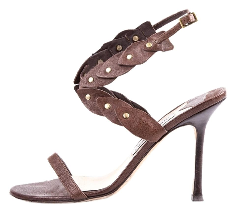 Jimmy Choo Brown Brown Brown Leather Criss-cross Sandals 1a3201