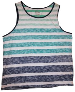 Urban Pipeline Stripes Inside Out Summer Cute Top White, Teal, Blue