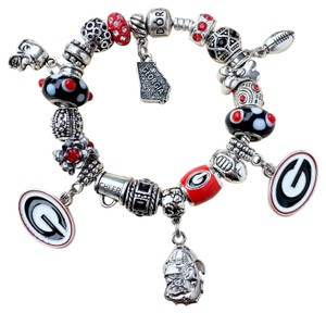 PANDORA Authentic Pandora Braclet W/European Charms Georgia Bulldogs